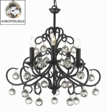 "Bellora Crystal Wrought Iron Chandelier Lighting With Faceted Crystal Balls H 22"" W 20"" - A7-586/5"