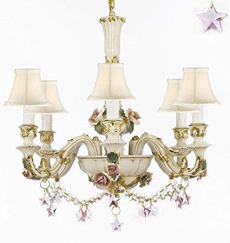 Authentic Capodimonte Porcelain Chandelier Lighting Chandeliers Made in Italy, 24K Gold Trimmed w/ Roses & Flowers Dressed w/ Pink Stars Crystals With White Shades - GB102-SC/WHITESHADES/B52/B38/435/6