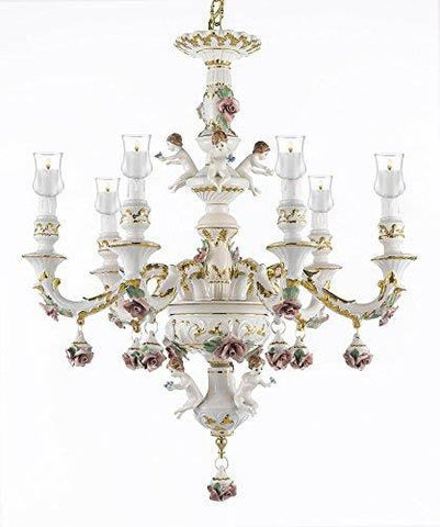 Authentic Capodimonte Porcelain Chandelier Lighting Chandeliers W/ Candle Votives Made in Italy Trimmed w/ Roses & Flowers - For Indoor / Outdoor Use Great for Outdoor Events - GB102-B31/119/6