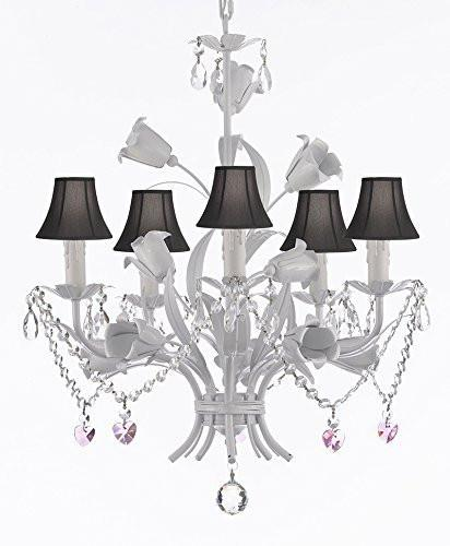 "White Wrought Iron Floral Chandelier Empress Crystal (Tm) Flower Chandeliers Lighting H23"" X W19"" With Black Shades - J10-Sc/Blackshades/B23/B52/White/325/5"