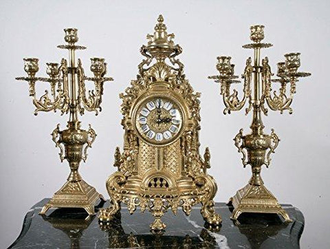 Solid Brass Baroque Mantel Clock & Candelabra Set Made in Italy - B101-421/BRASS