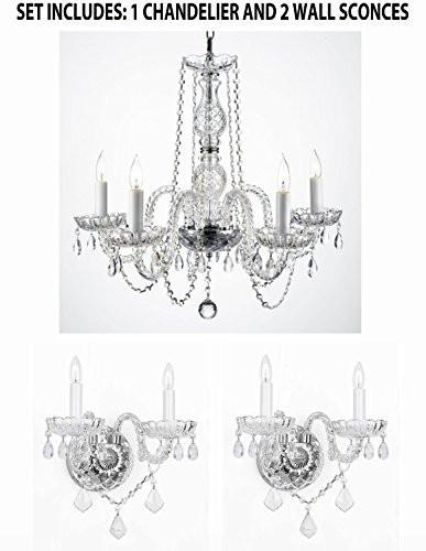 Three Piece Lighting Set - New Swarovski Crystal Trimmed Authentic All Crystal Murano Venetian Style Crystal Chandelier And 2 Wall Sconces - 1Ea 384/5Sw + 2Ea 2/386Sw