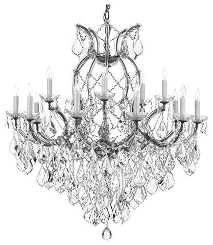 "Maria Theresa Chandelier Crystal Lighting Chandeliers Lights Fixture Ceiling Lamp for Dining Room, Entryway, Living Room H38"" X W37"" Dressed with Diamond Cut Crystal! - A83-1/21510/CS/15+1-DC"