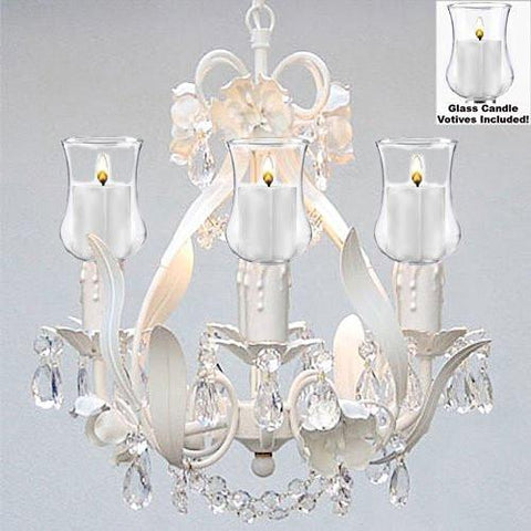 "Empress Crystal (Tm) Flower Chandelier W/ Candle Votives- For Indoor / Outdoor Use Great For Outdoor Events Hang From Trees / Gazebo / Pergola / Porch / Patio H15"" W11"" - J10-B31/White/26027/4"
