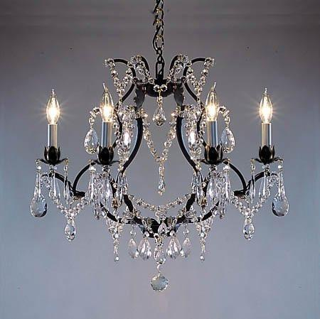 "Swarovski Crystal Trimmed Chandelier Wrought Iron Crystal Chandelier H19"" X W20"" - A83-3030/6Sw"