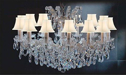 "Maria Theresa Chandelier Crystal Lighting Chandeliers Lights Fixture Pendant Ceiling Lamp For Dining Room Entryway Living Room H 21"" X W 31"" With White Shades - A83-Sc/Whiteshades/Cg/2489/14"