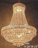 "Set of 2-1 French Empire Crystal Chandelier Chandeliers Lighting H46"" X W23"" and 1 French Empire Crystal Chandelier Chandeliers Lighting H26"" X W23"" - 1EA C7/CG/448/9 + 1EA 448/9"