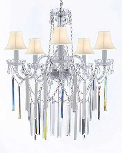 "Authentic All Empress Crystal (Tm) Chandelier Lighting Optical-Quality Fringe Prisms With White Shades H30"" X W24"" - G46-B40/Sc/Whiteshades/3/384/5"