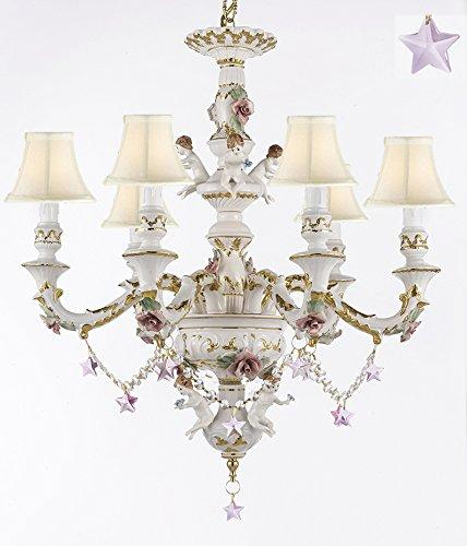 Authentic Capodimonte Porcelain Chandelier Lighting w/ Cherub Angels W/ Pink Stars W/ White Shades Made in Italy Good for Dining Room, Kids & Girls Bedrooms 24K Gold Trimmed w/ Roses & Flowers - GB102-SC/WHITESHADES/B38/119/6