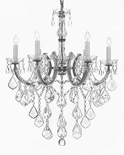 "Swarovski Crystal Trimmed Chandelier Maria Theresa Chandelier Crystal Lighting Chandeliers H 30"" W 22"" - J10-B12/Silver/26067/6Sw"