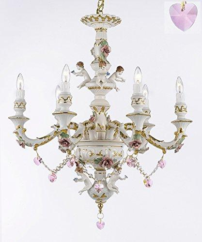 Authentic Capodimonte Porcelain Chandelier Lighting w/ Cherub Angels W/ Pink Hearts Made in Italy Good for Dining Room, Kids & Girls Bedrooms 24K Gold Trimmed w/ Roses & Flowers-Limited Stock - GB102-B21/B52/119/6