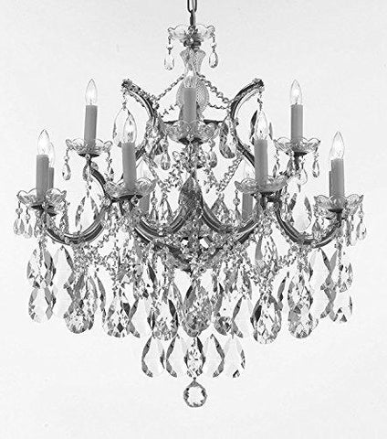 "Maria Theresa Chandelier Lights Fixture Pendant Ceiling Lamp Dressed With Large Luxe Diamond Cut Crystals H30"" X W28"" - Good For Dining Room Foyer Entryway Living Room And More - F83-B90/Cs/21532/12+1Dc"