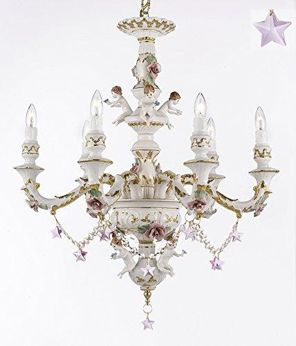 Authentic Capodimonte Porcelain Chandelier Lighting w/ Cherub Angel W/ Pink Stars Made in Italy Good for Dining Room, Kids & Girls Bedrooms 24K Gold Trimmed w/ Roses & Flowers-Limited Stock Available - GB102-B38/B52/119/6