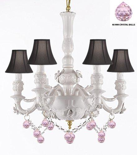Authentic Capodimonte White Porcelain Chandelier Lighting Chandeliers Made in Italy, w/ Roses & Flowers Speciality item, Limited Stock Available W/ Pink Balls Crystals and Black Shades - GB102-SC/BLACKSHADE/B52/B76/WHITE/435/6