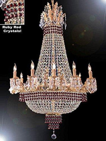 "Empire Crystal Chandelier Chandeliers Lighting Dressed With Ruby Red Crystals Great For The Dining Room Foyer Living Room H32"" X W25"" - B74-Cg/1284/8+4"