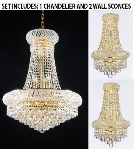 "Set Of 3 - 1 French Empire Crystal Chandelier H32"" X W24"" - Good For Dining Room Foyer Entryway Family Room And More And 2 Empire Empress Crystal (Tm) Wall Sconce W12"" H17"" - 1Ea 542/15 + 2Ea Cg/2182/12S/Wallsconce"
