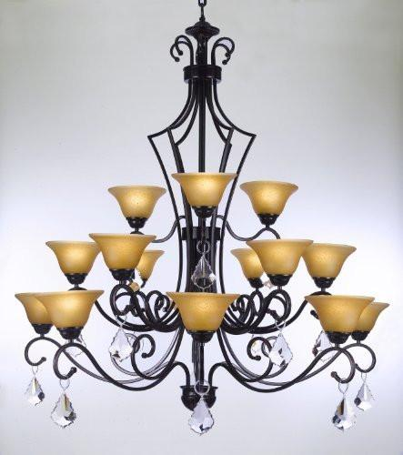 "Wrought Iron Chandelier With Crystal H51"" X W49"" - Perfect For An Entryway Or Foyer - Go-A84-Crystal/451/15"