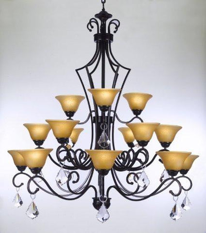 "Wrought Iron Chandelier With Crystal H51"" X W49"" - Perfect For An Entryway Or Foyer - Go-J10-Crystal/26057/15"