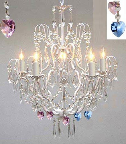 Wrought Iron & Crystal Chandelier Authentic Empress Crystal(Tm) Chandelier Lighting Chandeliers With Blue And Pink Hearts Nursery Kids Girls Bedrooms Kitchen Etc. - J10-White/B85/B21/C/26025/5