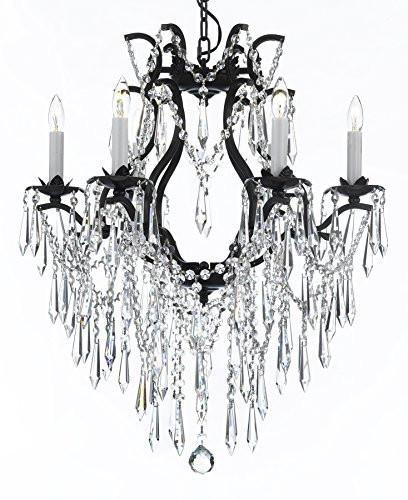 "Wrought Iron Empress Crystal (Tm) Chandelier Lighting H 27"" W 20"" - A83-B27/3530/6"