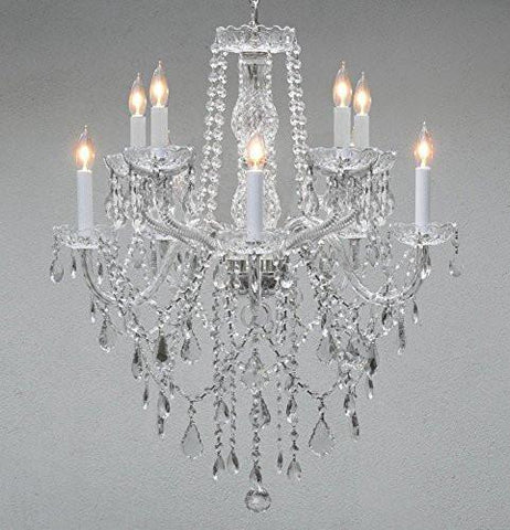 "Chandelier Lighting Empress Crystal (Tm) Chandeliers H 30"" W 24"" 10 Lights Swag Plug In-Chandelier W/ 14' Feet Of Hanging Chain And Wire - G46-B15/B13/1122/5+5"