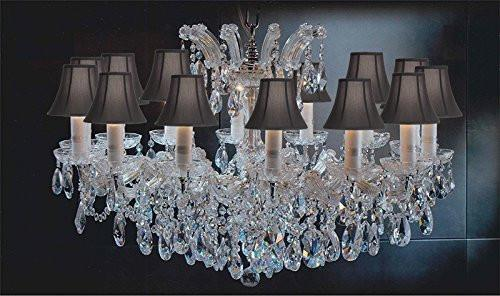 "Maria Theresa Chandelier Crystal Lighting Chandeliers Lights Fixture Pendant Ceiling Lamp For Dining Room Entryway Living Room H 21"" X W 31"" With Black Shades - A83-Sc/Blackshades/Cg/2489/14"