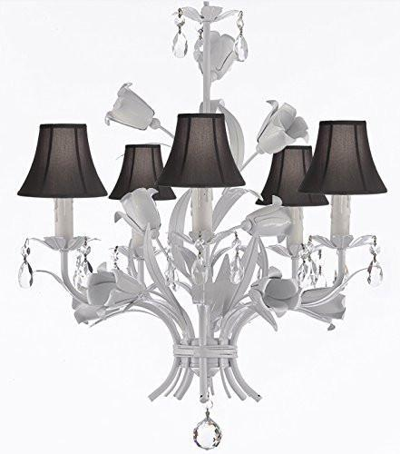 "White Wrought Iron Floral Chandelier Empress Crystal(Tm) Flower Chandeliers Lighting H23"" X W19"" With Shades - A7-Sc/Blackshades/B39/White/325/5"