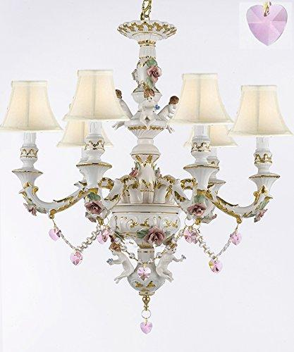 Authentic Capodimonte Porcelain Chandelier Lighting w/ Cherub Angels W/ Pink Hearts w/ white Shades Made in Italy Good for Dining Room, Kids & Girls Bedrooms 24K Gold Trimmed w/ Roses & Flowers - GB102-SC/WHITESHADES/B21/119/6