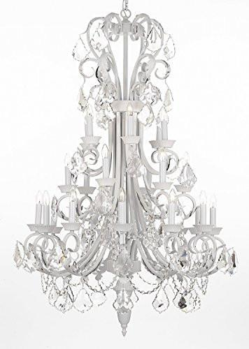 "Large Foyer / Entryway White Wrought Iron Chandelier Lighting 50"" Inches Tall With Crystal - J10-B12/WHITE/26015/24"