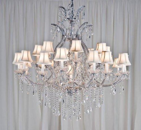 "Maria Theresa Chandelier Crystal Chandeliers Lighting H52"" X W46"" With Shades - A83-Whiteshades/Silver/52/2Mt/24+1 Gtc"