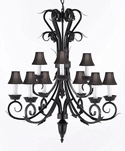 "Wrought Iron Chandelier With Black Shades H 30"" W 26"" 9 Lights - A84-Blackshades/724/6+3"
