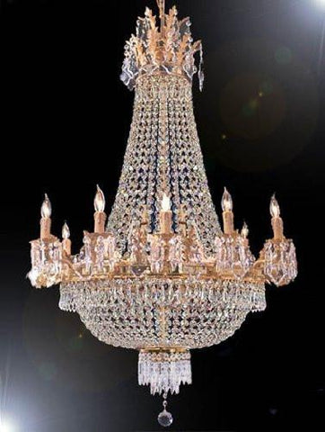"Swarovski Crystal Trimmed Chandelier French Empire Crystal Chandelier H32"" X W25"" - A93-1280/8+4Sw"