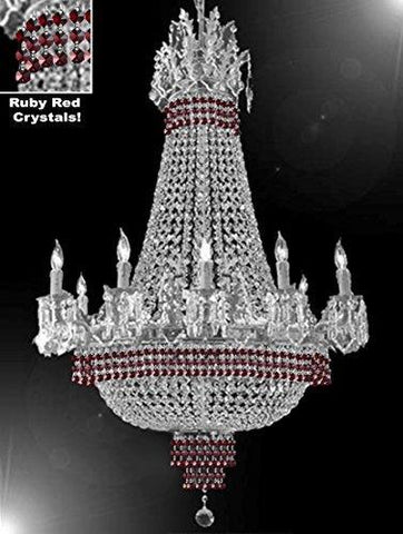 "Empire Crystal Chandelier Chandeliers Lighting Dressed With Ruby Red Crystals Great For The Dining Room Foyer Living Room H32"" X W25"" - B74-Cs/1284/8+4"