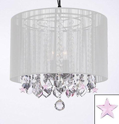 Crystal Chandelier With Large White Shade And Pink Crystal Stars - G7-B38/White/604/3