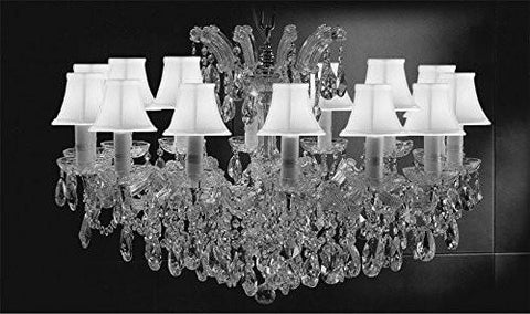 "Maria Theresa Chandelier Crystal Lighting Chandeliers Lights Fixture Pendant Ceiling Lamp For Dining Room Entryway Living Room H21"" X W31"" With White Shades - A83-Sc/Whiteshades/Cs/2489/14"