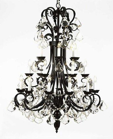 "Large Foyer / Entryway Wrought Iron Chandelier 50"" Inches Tall With Crystal H50"" X W30"" - G84-B12//724/24"