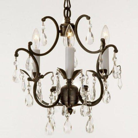 Wrought Iron Crystal Chandelier Lighting Country French 3 Lights Ceiling Fixture Wrought Country French Min Kitchen - J10-618/3