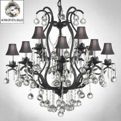 Wrought Iron Crystal Chandelier Lighting Dressed W/ Crystal Balls & Shades - A83-B6/Sc/3034/8+4 -Black Shades
