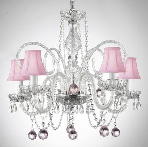 Crystal Chandelier Lighting With Pink Shades And Pink Crystal Balls - A46-Sc/B3/385/5 - Pink Balls&Shades