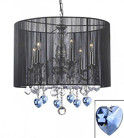 "Crystal Chandelier Chandeliers With Large Black Shade And Blue Crystal Hearts H 19.5"" X W 18.5"" - F7-B85/1124/6"