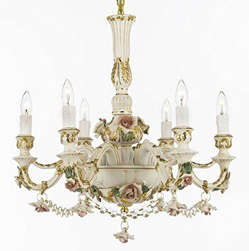 Authentic Capodimonte Porcelain Chandelier Lighting Chandeliers Cottage Chic Made in Italy, Good for Dining Room, Kids & Girls Bedrooms 24K Gold Trimmed w/ Roses & Flowers Dressed w/ Crystals - GB102-B52/435/6