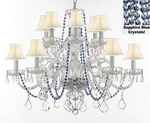 "Authentic All Crystal Chandelier Chandeliers Lighting With Sapphire Blue Crystals And White Shades Perfect For Living Room Dining Room Kitchen H32"" W27"" - F46-B82/Whiteshades/385/6+6"