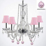 "Authentic Empress Crystal(TM) Chandelier Lighting Chandeliers with Pink Crystal Balls and Pink Shades W/Chrome Sleeves! H25"" X W24"" - G46-B43/PINKSHADES/B76/384/5"