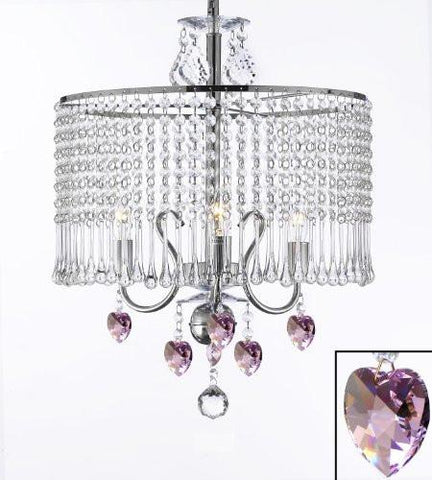 "Contemporary 3-Light Crystal Chandelier Lighting With Crystal Shade And Pink Crystal Hearts W 16"" X H 21"" - J10-B21/26071/3"