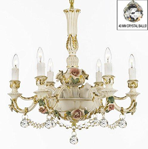 Authentic Capodimonte Porcelain Lighting Chandeliers Cottage Chic Made in Italy, Good for Dining Room, Kids & Girls Bedrooms 24K Gold Trimmed w/ Roses & Flowers Dressed w/ Crystals and Crystal Balls - GB102-B52/B6/435/6