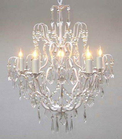 "White Wrought Iron Crystal Chandelier Lighting H27"" X W21"" - J10-White/C/26025/5"