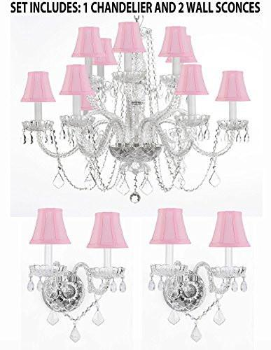 "Three Piece Lighting Set - Crystal Chandelier H27"" X W32"" And 2 Wall Sconces With Pink Shades - 1Ea Pnkshd/385/6+6 +2Ea Pnkshd/B12/2/386"