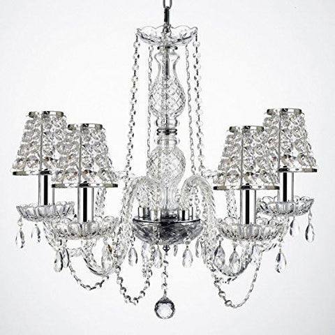 "Empress Crystal (Tm) Wrought Iron Chandelier Lighting H25"" W24"" With Crystal Shades And Chrome Sleeves - G46-B32/B43/384/5"