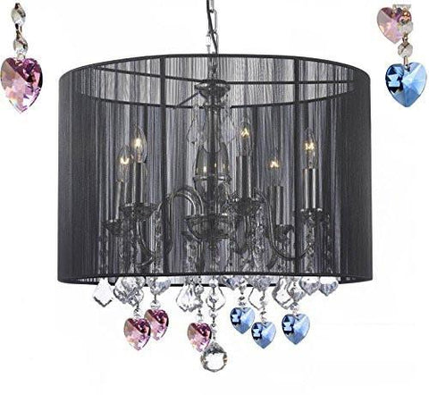 "Crystal Chandelier Chandeliers With Large Black Shade Blue And Pink Crystal Hearts H19.5"" X W18.5"" - F7-B85/B21/1124/6"