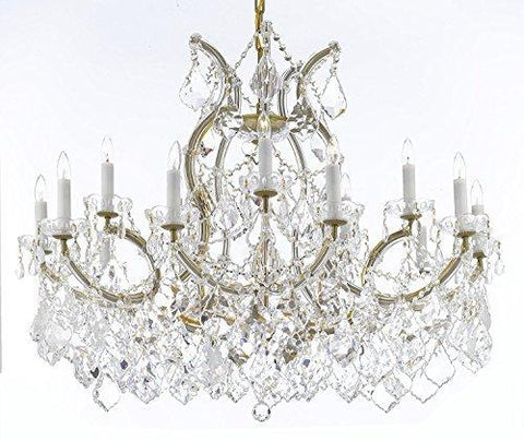 "Maria Theresa Chandelier Crystal Lighting Chandeliers Lights Fixture Pendant Ceiling Lamp For Dining Room Entryway Living Room With Large Luxe Diamond Cut Crystals H28"" X W37"" - A83-B89/21510/15+1Dc"